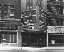 The original marquee with filligree letters and cascading neon motif (BANQ)